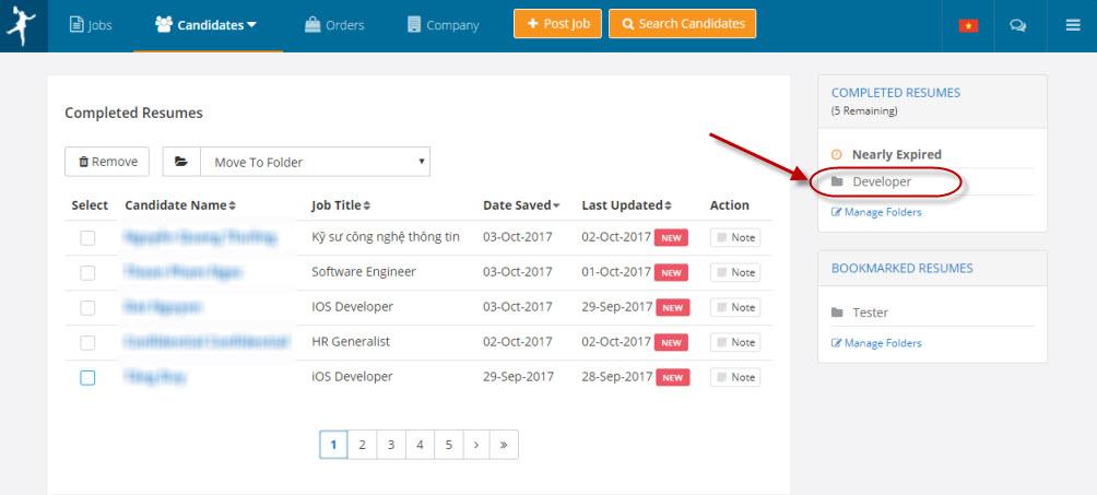 Create New Folder for Resumes